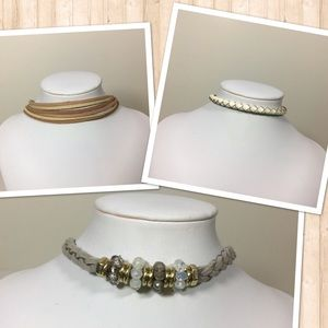 Jewelry - 3 Faux Leather Chokers